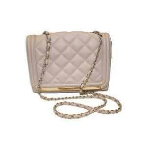 Aldo Cream Quilted Chain Strap Shoulder Bag Purse